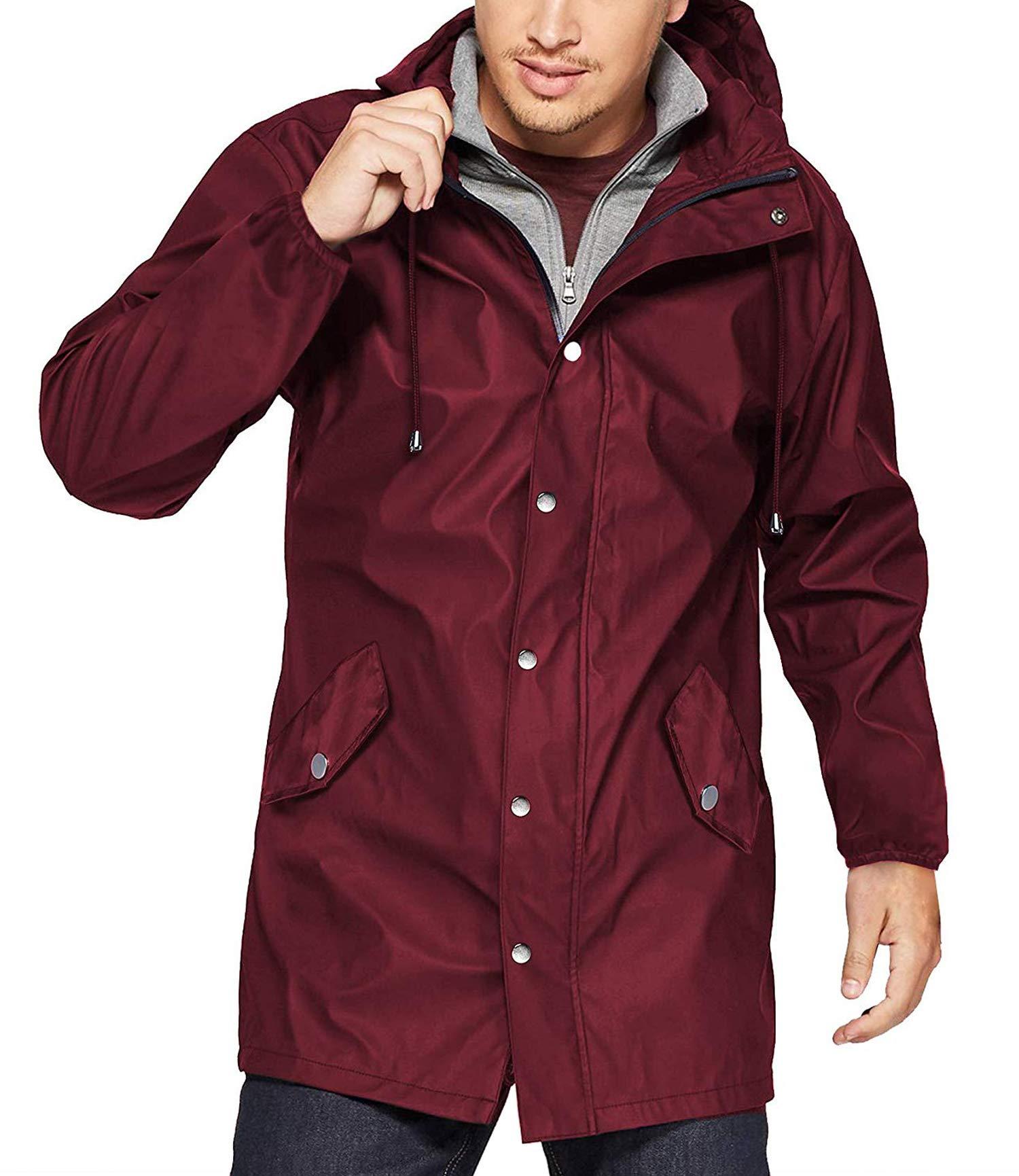 URRU Men's Lightweight Waterproof Rain Jacket Packable Hooded Long Windbreaker Jackets Wine Red L by URRU