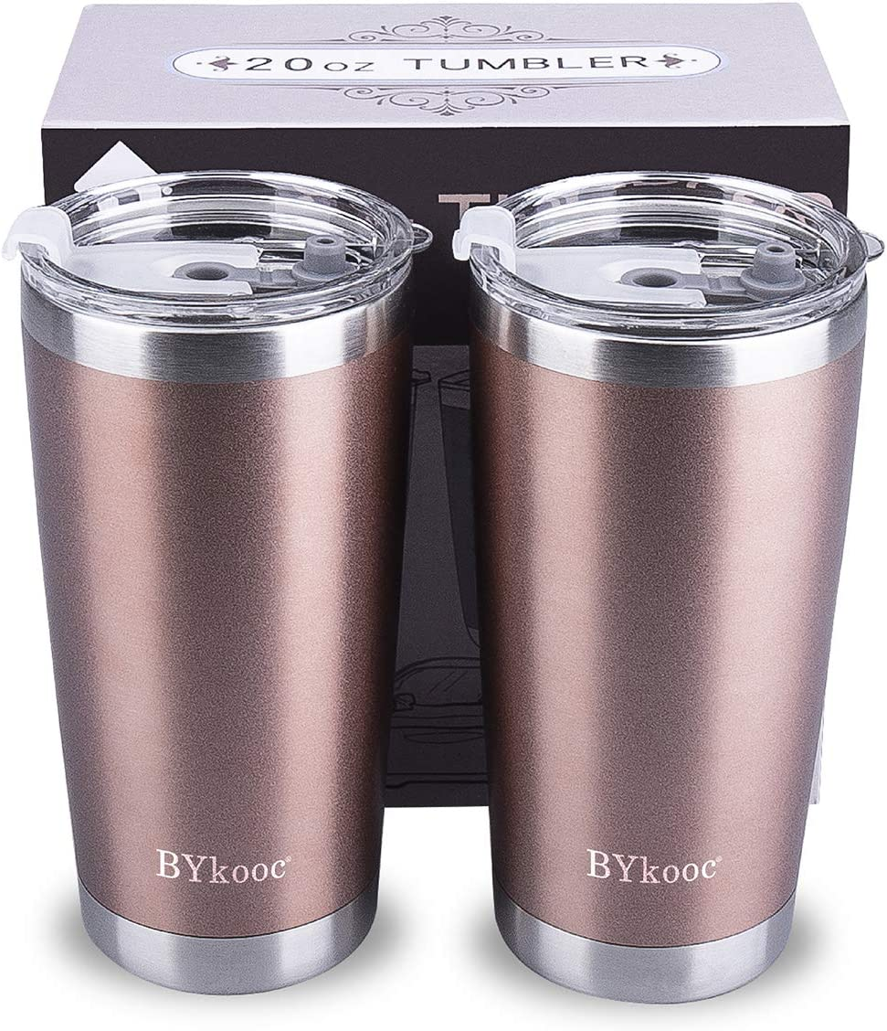 20oz Tumbler with lid,BYkooc Stainless Steel Vacuum Insulated Double Wall Travel Coffee Mug with Straw, Durable Insulated Tumbler Cup, for Home, Outdoor, Office, Ice Drink(Rose Gold 2 Pack)