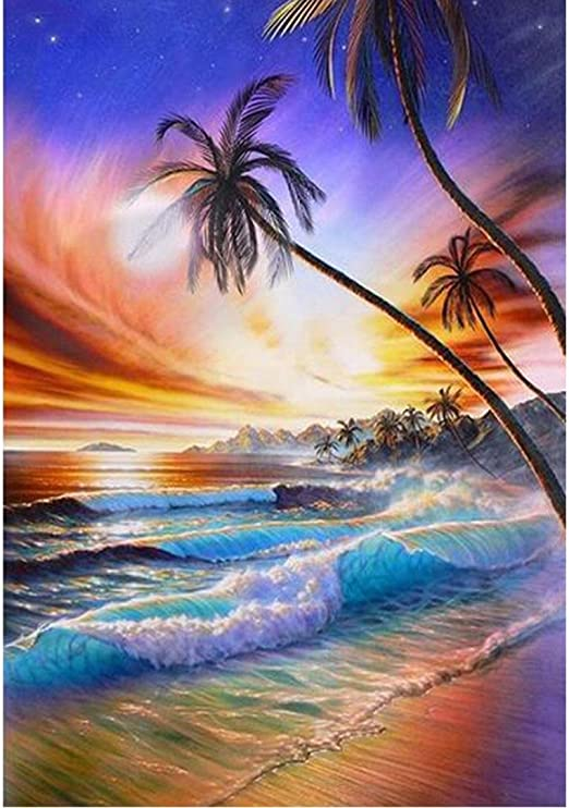 TOOGOO Diamond Painting for Adult 5D Diamond Painting Full Drill Paint with Diamonds Fit DIY,Diamond Art Kits for Adults,Beach Oil Painting Style Life at Beach