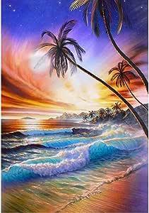 YUMEART Sea Landscape Diamond Cross Stitch Crystal Full Square Diamond Sets DIY Diamond Painting Scenery Diamond Embroidery Sunset Beach Size 30x40cm