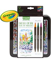 CRAYOLA Brush & Detail Dual Tip Markers, Calligraphy Set, Gift