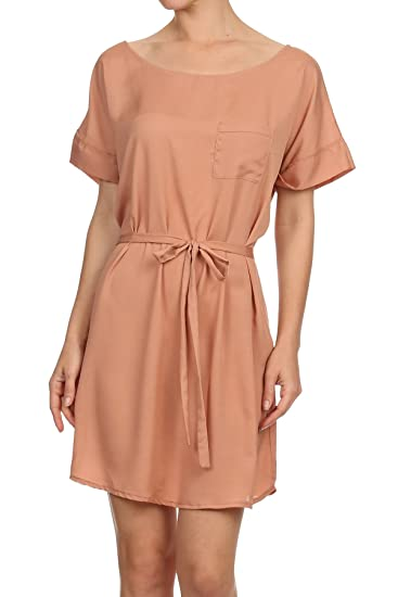 725684e0045 Image Unavailable. Image not available for. Color  MeshMe Womens Beige  Chiffon Short Sleeve Shirt Dress with Pocket ...