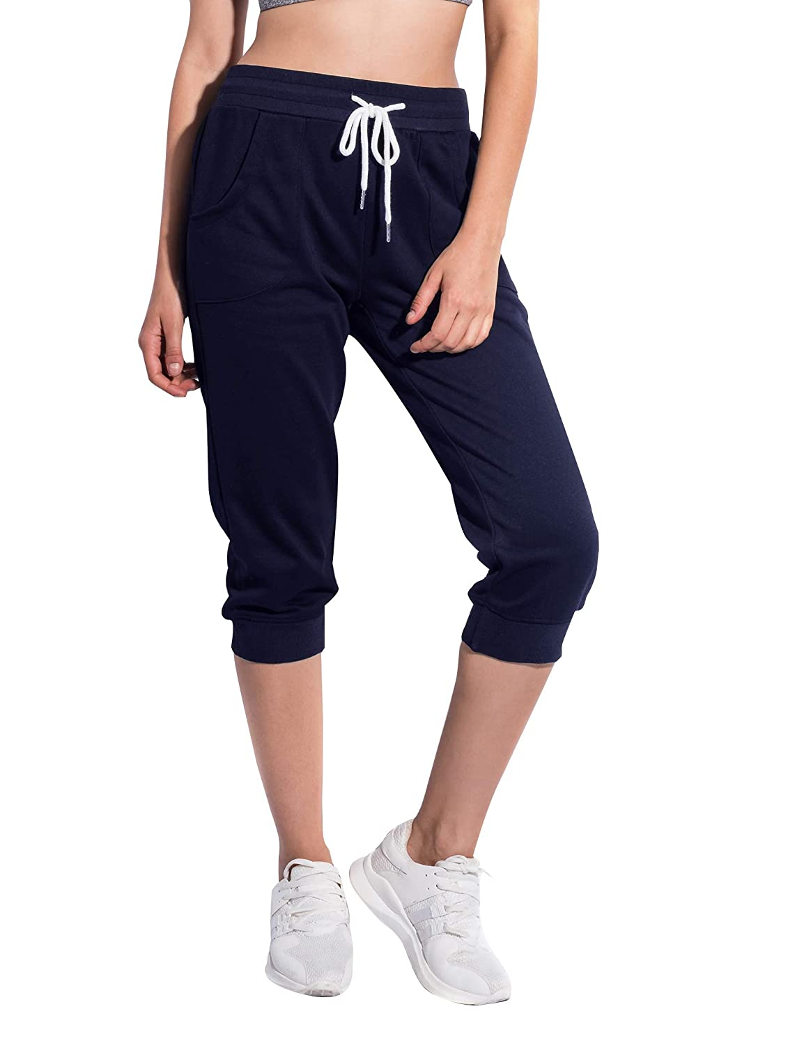 SPECIAL MAGIC Women's Cropped Cotton Jersey Jogger Sweatpants with Drawstring and Pockets SP708203002