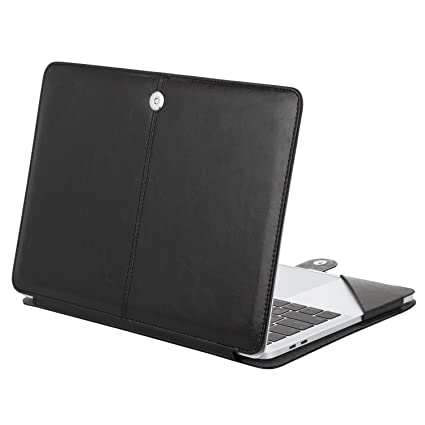 online retailer 039bf 5c5ef MOSISO PU Leather Case Compatible MacBook Pro 15 Inch 2019 2018 2017 2016  Released A1990 A1707 with Touch Bar, Book Folio Protective Cover Stand ...