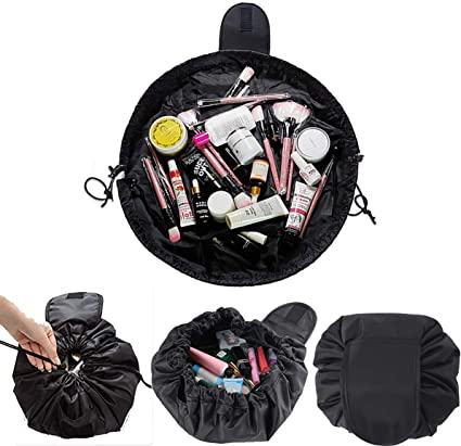 Makeup Bag Drawstring Cosmetic Bag Lazy Toiletry Bag Portable Magic Quick Make Up Pouch Travel Storage Organiser for Women and Girls(Drawstring Makeup