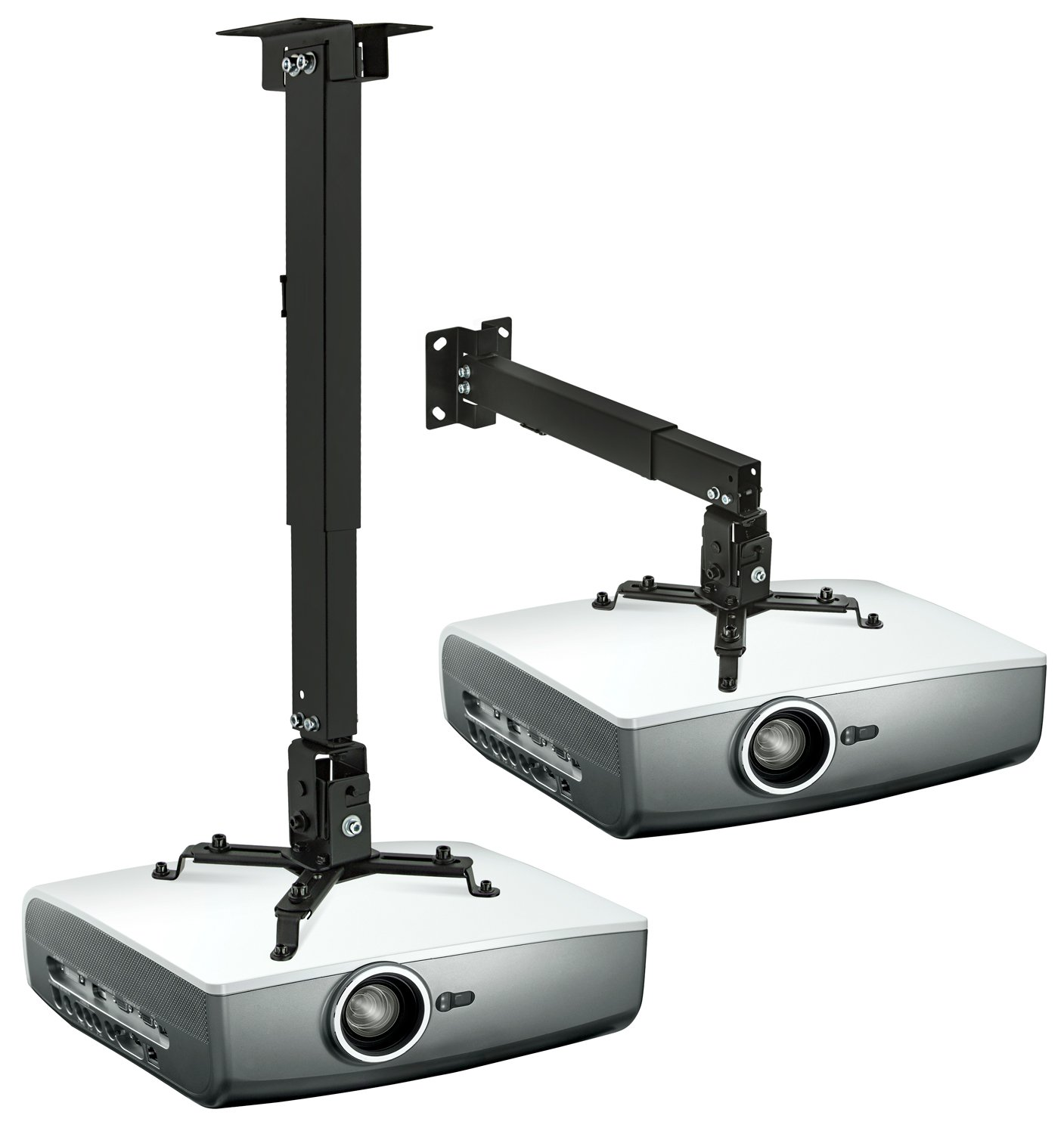 Mount-It! Wall or Ceiling Projector Mount with Universal LCD/DLP Mounting for Epson, Optoma, Benq, ViewSonic Projectors, 44lb Load Capacity, Black (MI-604)