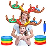 Gamenote 2 Pack Inflatable Reindeer Antler Ring Toss Game, Christmas Party Games for Kids, Toss Game for Indoor Outdoor…