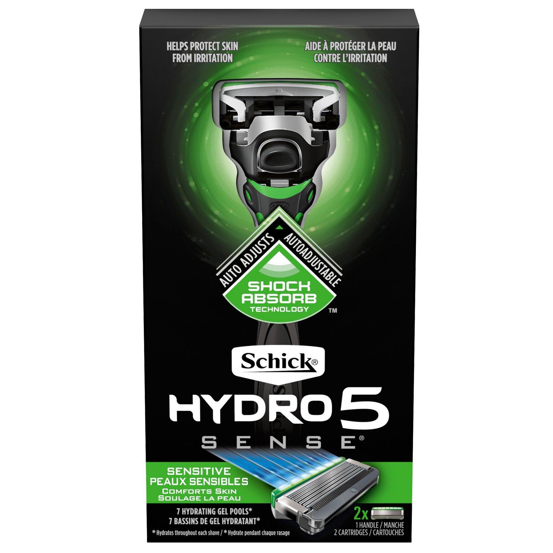 Schick Hydro Sense Sensitive Razors for Men with Shock Absorbent Technology, 1 Razor Handle and 2 Razor Blades Refills