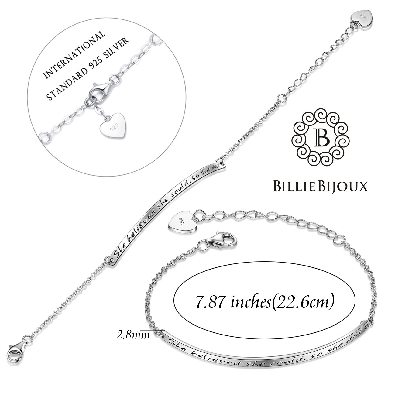 Billie Bijoux 925 Sterling Silver Engraved Inspirational Adjustable Bracelet Gift for Her, Women, Friendship