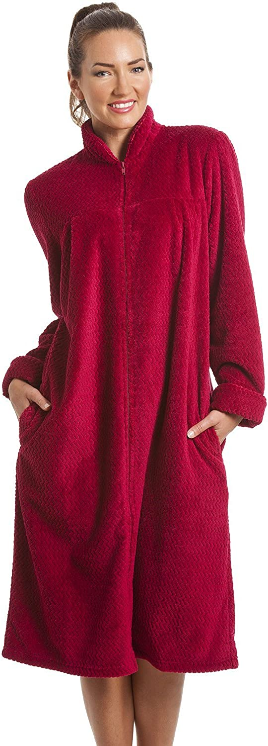 Camille Soft Fleece Ruby Red Zip Front House Coat 46/48