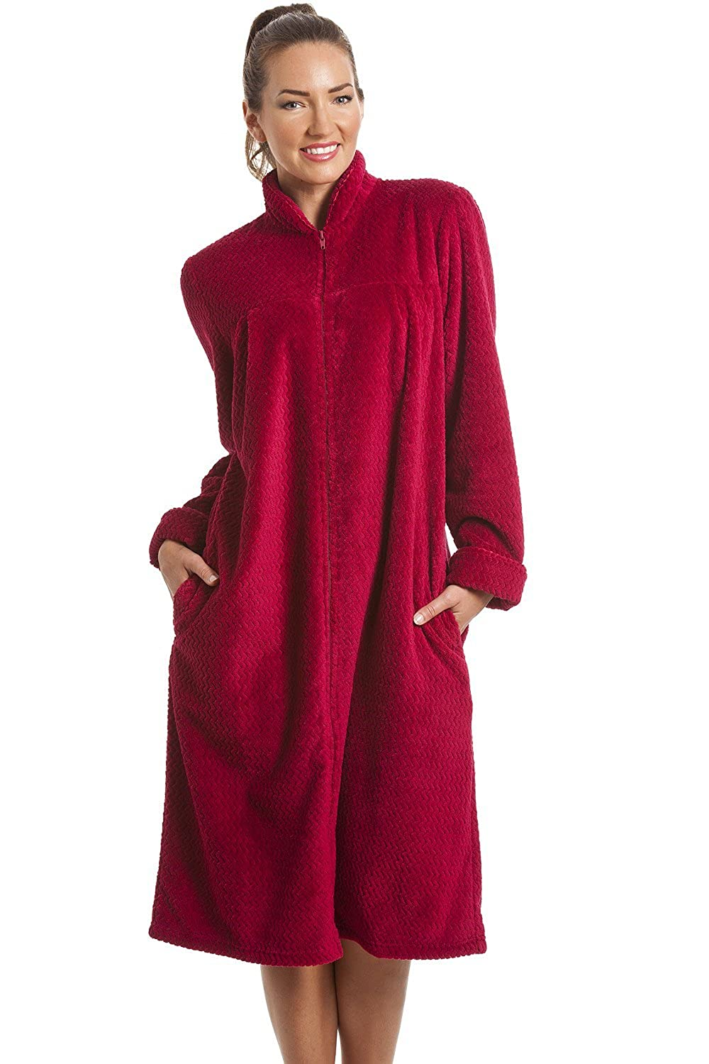 Camille Womens Ladies Soft Fleece Ruby Red Zip Front House Coat