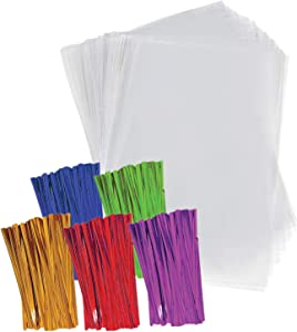 Clear Plastic Cellophane Bags with 4