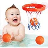 zoordo Bath Toys Bathtub Basketball Hoop Balls Set for Toddlers Kids with Strong Suction Cup Easy to Install,Fun Games…