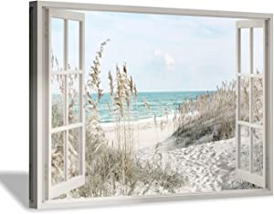 "Hardy Gallery Coastal Beach Picture Wall Art: Beach Theme Window Canvas Art Prints Seascape Artwork for Bedroom (36"" x 24"" x 1 Panel)"