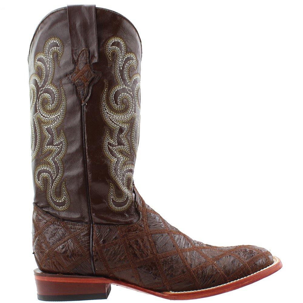 27498237988 Ferrini Men's Ostrich Patchwork Exotic Western Boot Wide Square Toe
