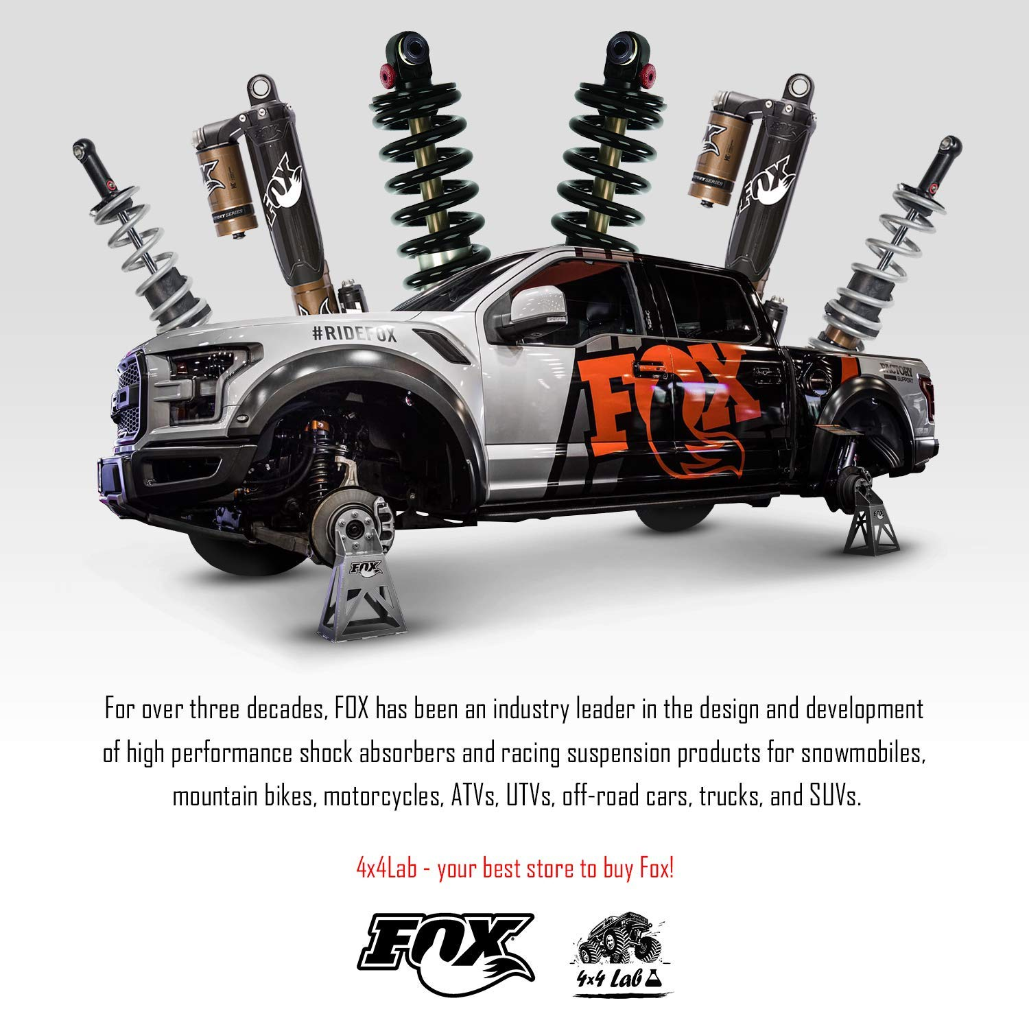 Kit of 2 Fox 2.0 Performance Series Reservoir 4-6 inch Lift Front Shocks for Chevrolet Silverado 2500HD 2001-2010