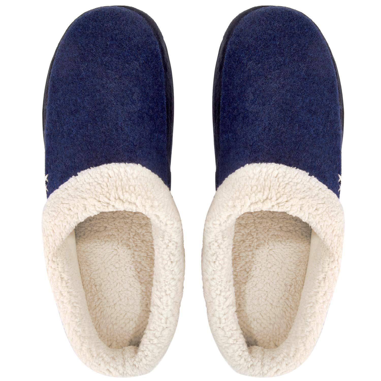 Mens Slippers Fuzzy House Shoes Memory Foam Slip On Clog Plush Wool Fleece Indoor Outdoor