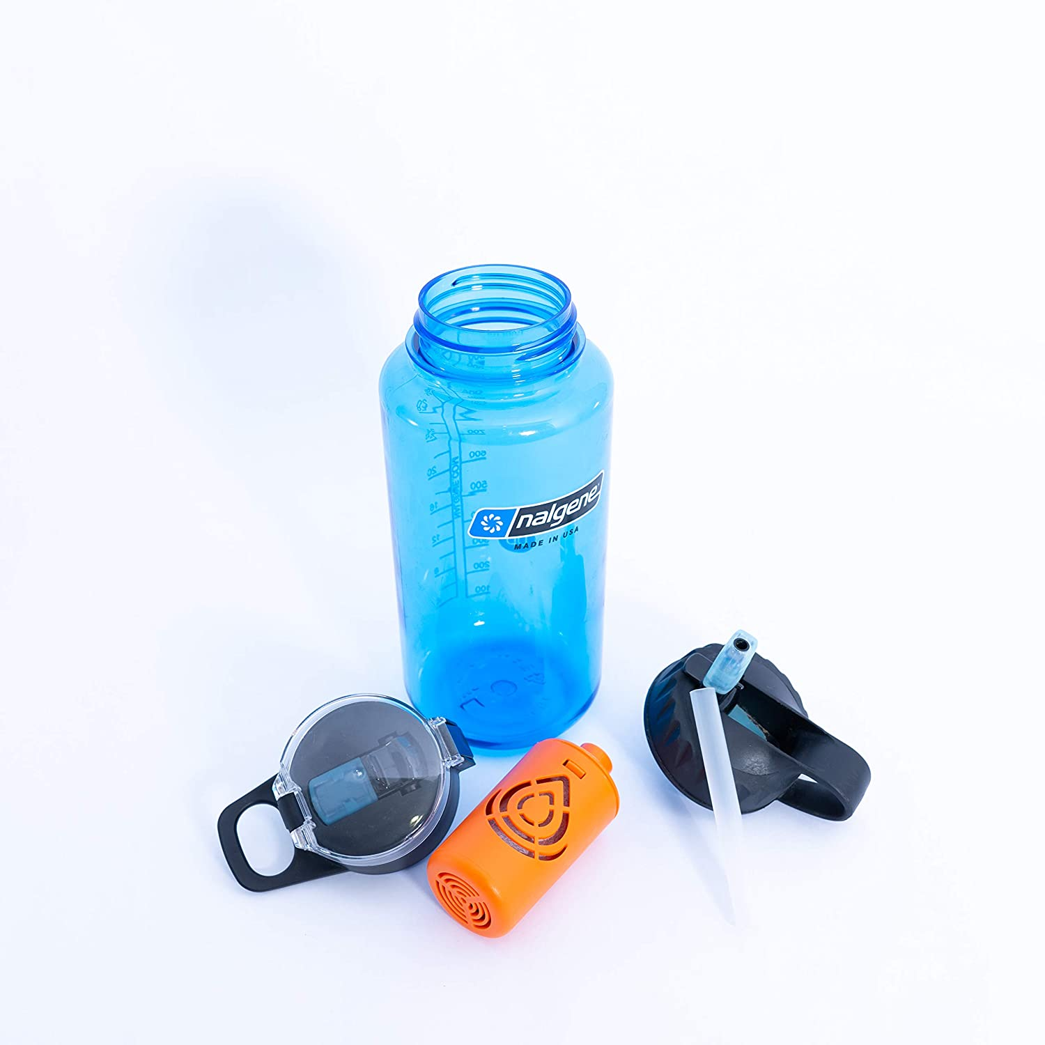 The Outdoor Answer | Nalgene Compatible Water Filter System | Filter Straw Lid Combo Fits Nalgene 32 oz Wide Mouth Bottles | American Made Nano Filter Removes 99.9999% of Fresh Water Contaminants