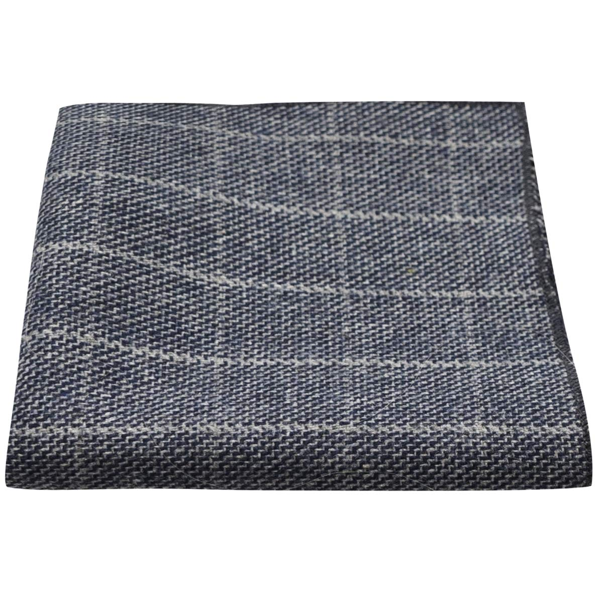 King /& Priory Fazzoletto da taschino color azzurro pietra a quadri in tessuto con disegno a occhio di pernice Pochette
