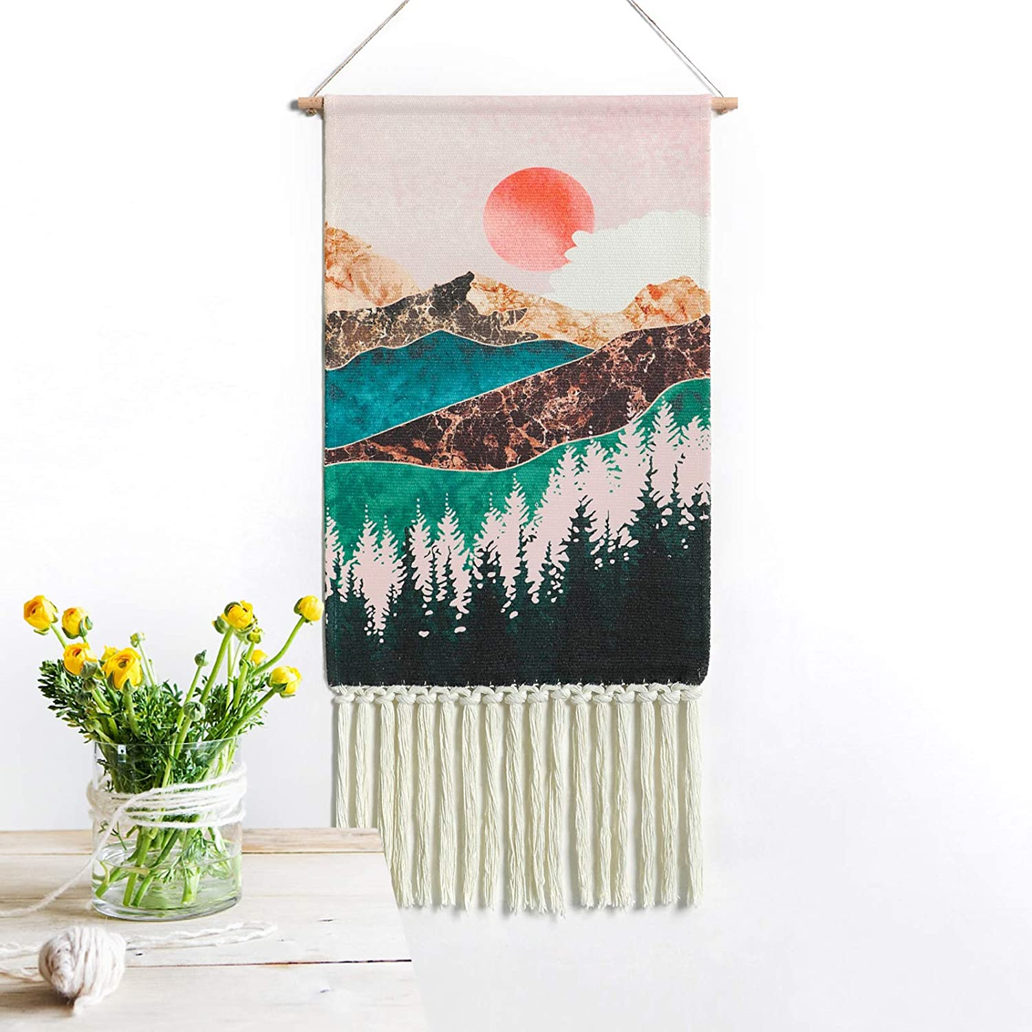 Dremisland Mountain Tapestry Forest Tree Tapestry Nature Landscape Tapestry Wall Hanging - Boho Chic Bohemian Wall Decor For Home (Sunset)