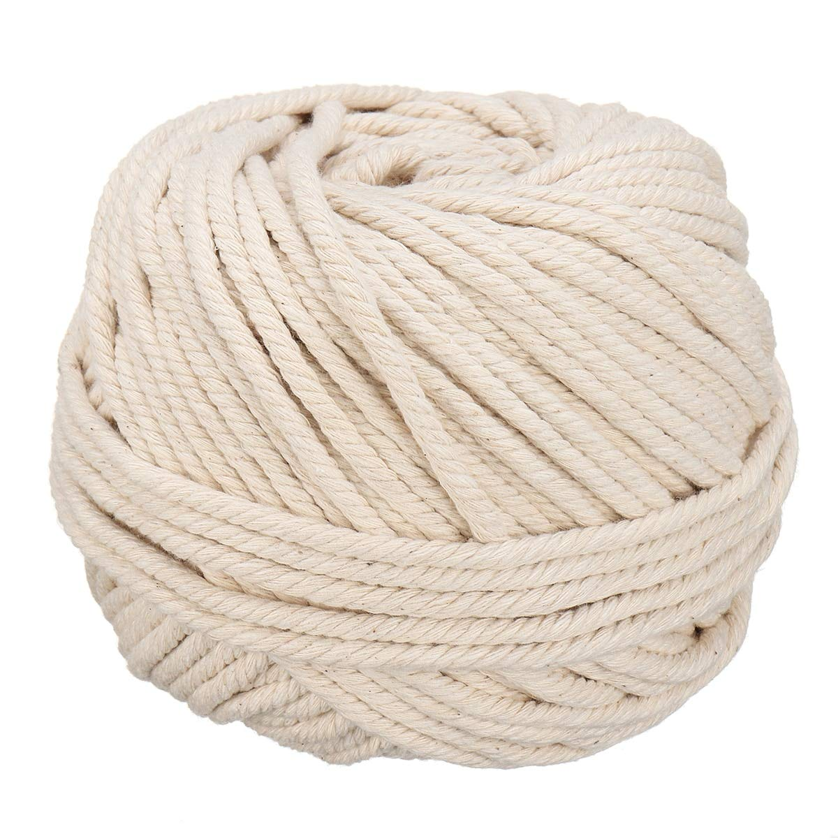 Cotton Rope 1 Roll Rope Natural Beige Pure Cotton Twisted Cord For Artisan Hand Craft Diy Apparel Sewing Rope 5Mm X 60M by Mehtah Store