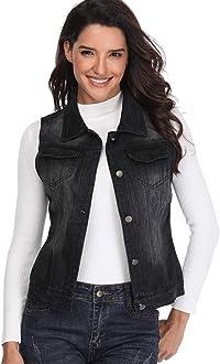 NEW Womens Denim Waistcoat Ladies Jean Gilet Jacket Size 8 10 12 14 Vintage