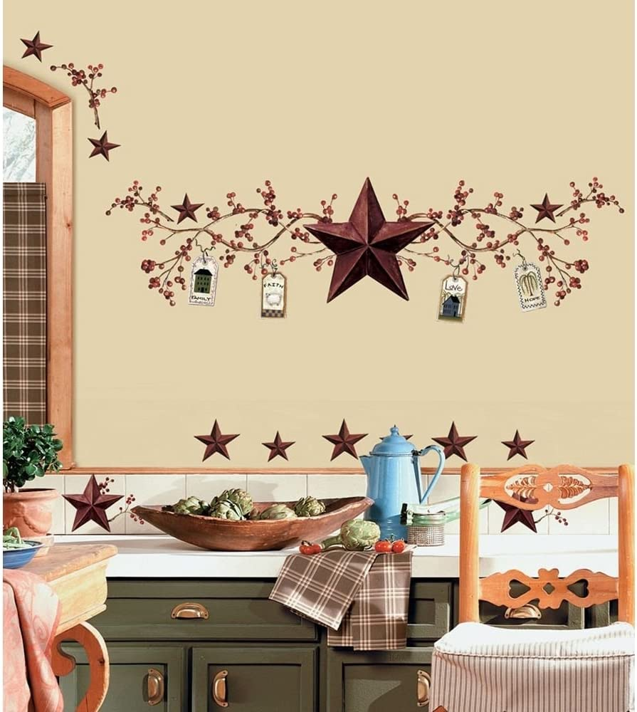 STARS and BERRIES WALL DECALS Country Kitchen Stickers Rustic Primitive Décor:New by WW shop