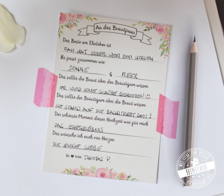30 Gästebuchkarten für die Hochzeit - Alternative zu blanko ...