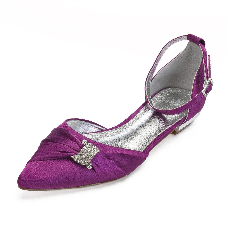 MarHermoso Damen Ankle Elegant Ballerinas Spitze Zehen Ankle Damen Strap Strass Kleine Flache Brautschuhe Violett 8aa886