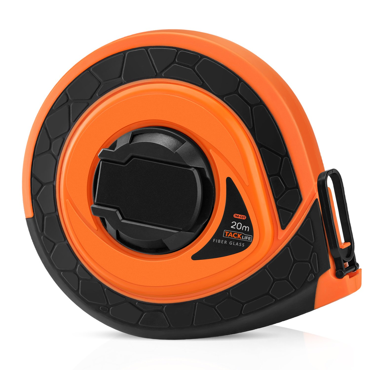 Tacklife TM-C01 Classic Manual Fiber Glass Tape Measure 66Ft with Double-Sided Scale of Inch and Metric Measuring Orange/Black for Construction, Home, Carpentry