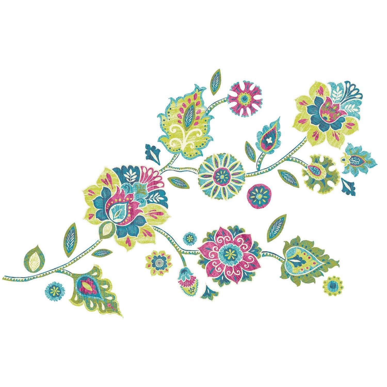 Vinilo Decorativo Pared [0GO7RTD4] flores boho gigantes