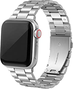 SWEES Stainless Steel Metal Bands Compatible with iWatch 42mm 44mm Series 6, Series 5, Series 4, Series 3, Series 2, Series 1 SE Sports & Edition, Replacement Link Double Button Butterfly Folding Clasp, Silver