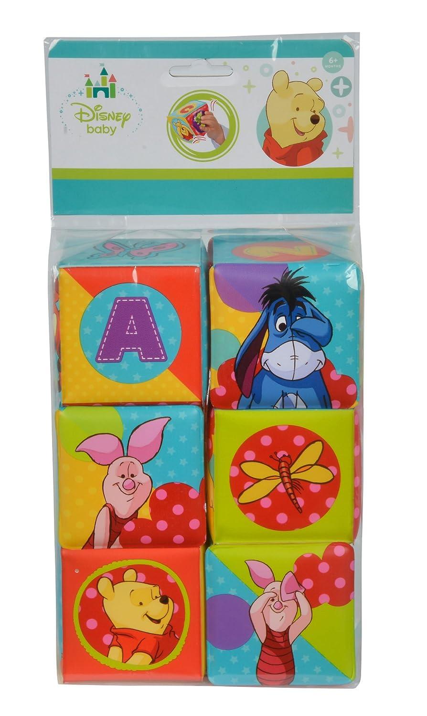 Simba 109331003 - Winnie The Puuh Weiche Stapelwürfel, 8 x 8 cm Simba Toys