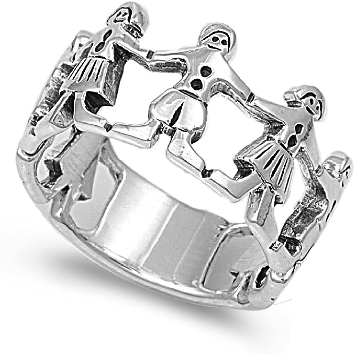 Princess Kylie 925 Sterling Silver Children Holding Hands Ring