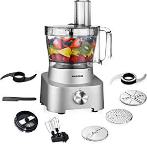 14 Cup Food Processor-2021 MAGICCOS 10-in-1 Food Chopper for Dicing, Egg Whisking, Chopping, Kneading, Mashing, Fine/Coarse Slicing&Shredding, 1000W with Pulse, Silver Die-Casting Aluminum Luxury Base