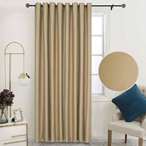 SimplyEasy Extra Wide Embossed Geometric Modern Blackout Curtains for Patio Door Thermal Insulated Panel Curtains for Living Room, 1 Panel 100 x96 , Camel
