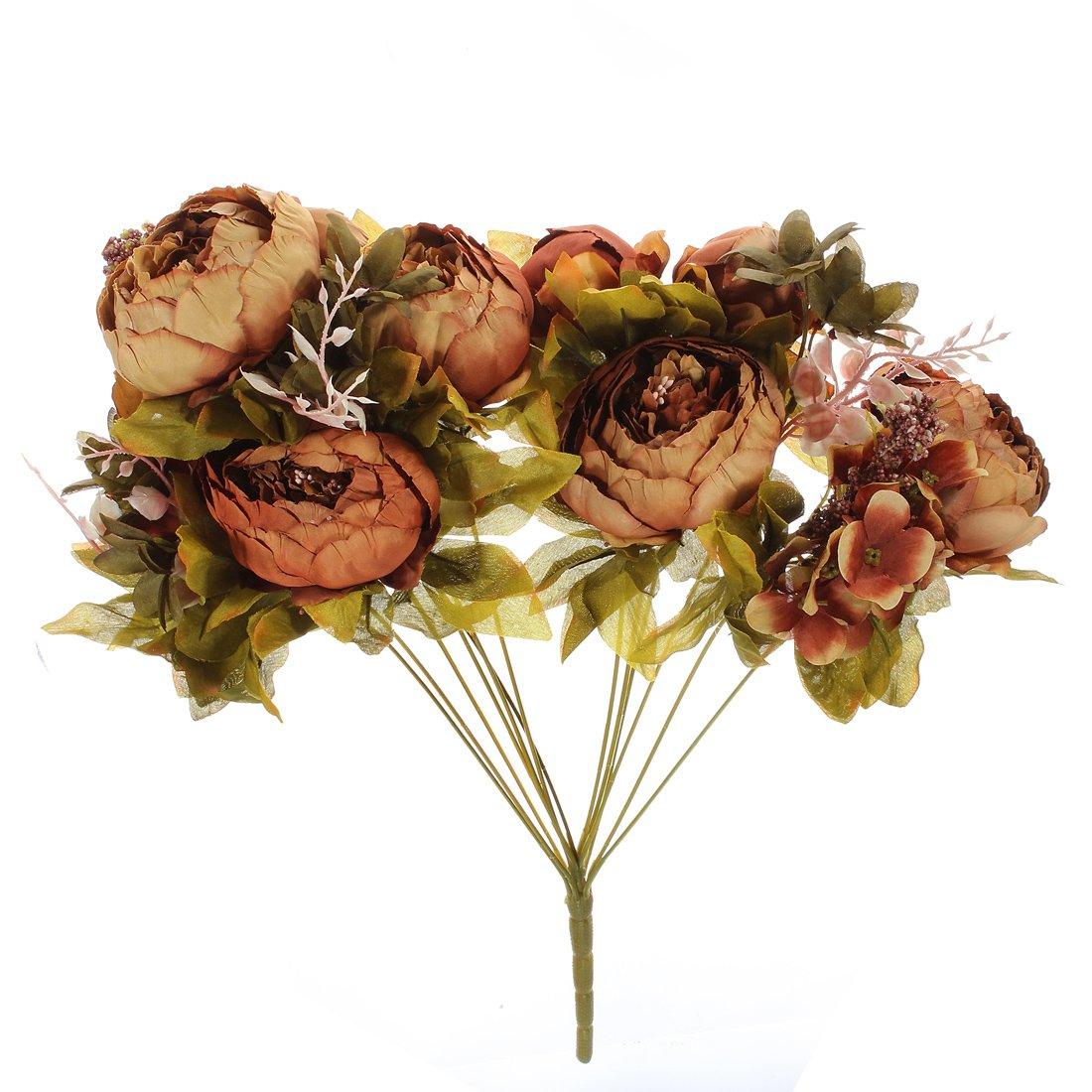 Amazon.com: KINGSO Artificial Peony Silk Flowers Bouquet Home ...