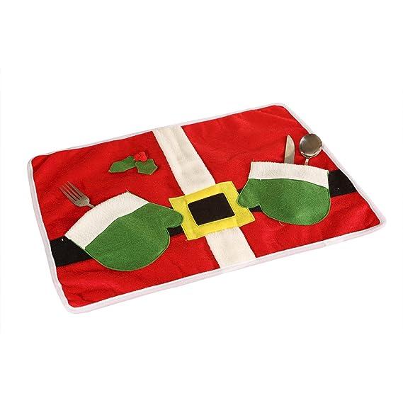 Yorbay - 4 x Funda navideña para sillas y manteles Individuales Set Decoración de Navidad Papá Noel con Gorro Cena Set de decoración para Hogar Navidad ...