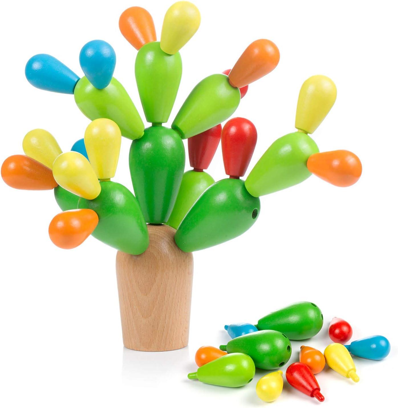 Comius Sharp Juguete de Montaje Cactus Juguete Cactus de Madera Niños Equilibrando Bloques de Construcción de Cactus, Juguete Montessori Madera Juego Creativo DIY Toys
