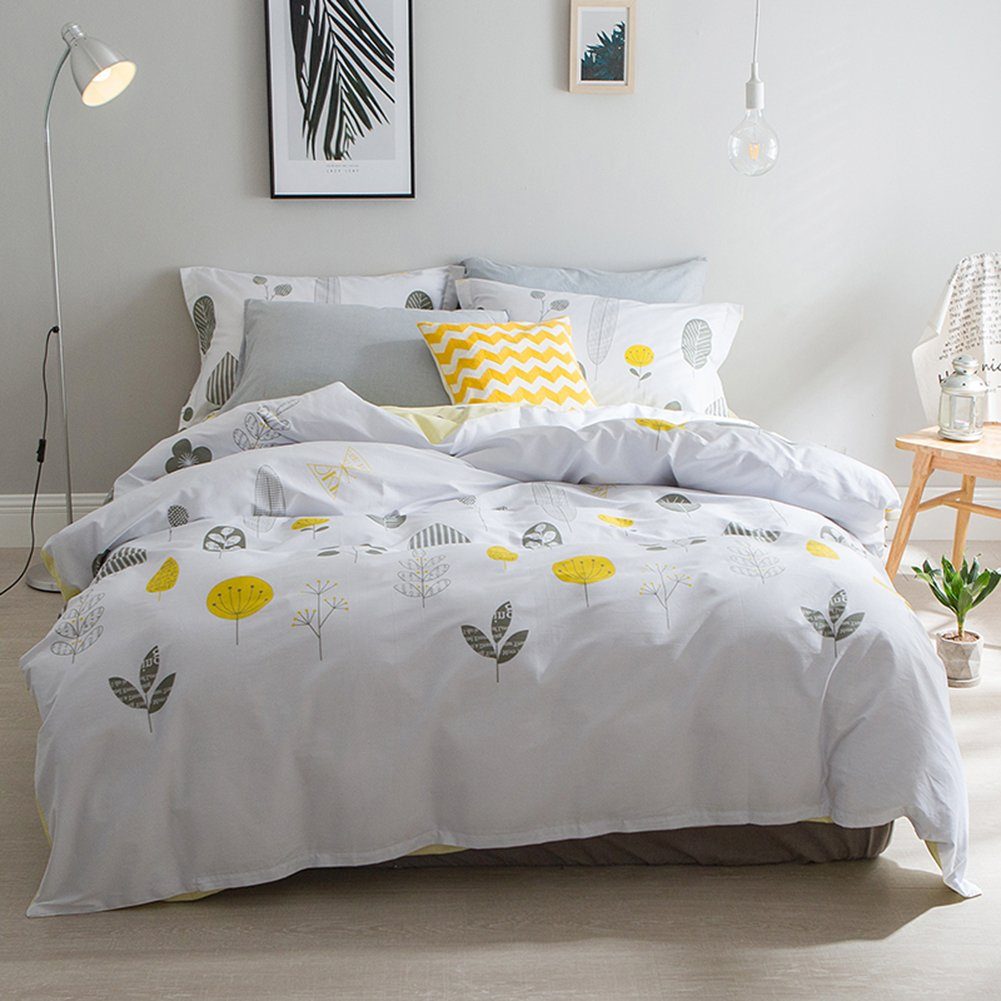 Fresh Style Bedding Sets Leafs - MeMoreCool 100% Cotton Reactive Printing All Seasons Duvet Cover and Fitted Sheet and Pillowcase Queen