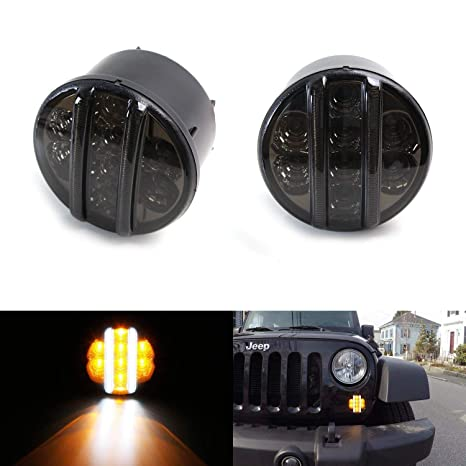 Amazon Com Ijdmtoy 2 Smoked Lens Led Drl Turn Signal Assembly For