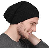 Michelangelo Men's Cotton Woollen Beanie Cap for All The Seasons (Black, Free Size) Slouch/Skullcap/Fitcap