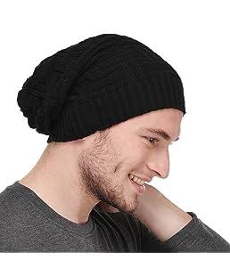 Michelangelo Men's Cotton Woollen Beanie Cap for All The Seasons (Black, Free Size) Slouch/Skullcap/Fitcap