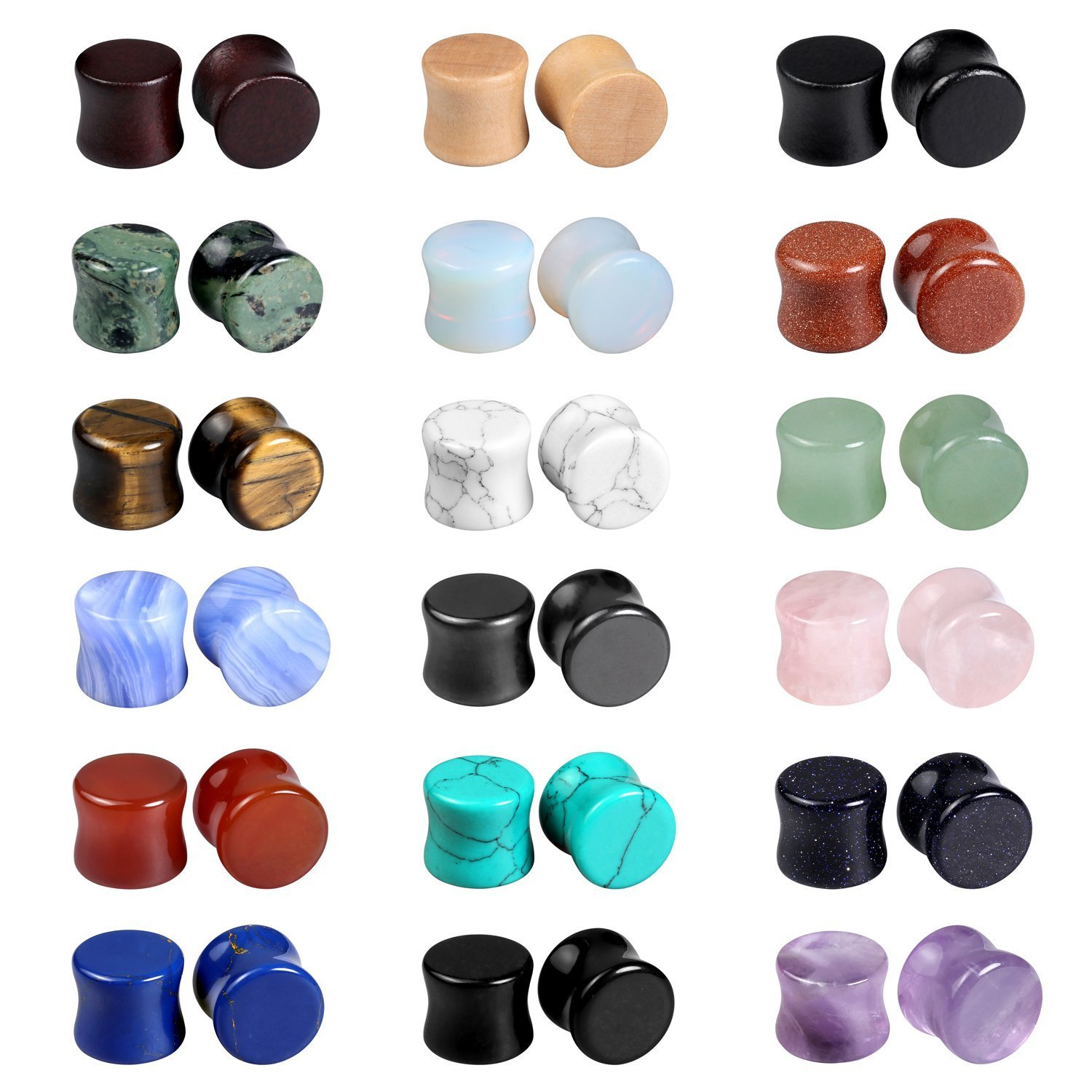 Evevil Wood Mixed Stone Plugs 18 Pairs/36 Pieces Set 00g Ear Plugs Ear Tunnels Ear Gauges Double Flared Ear Expander Stretcher Set (10mm)