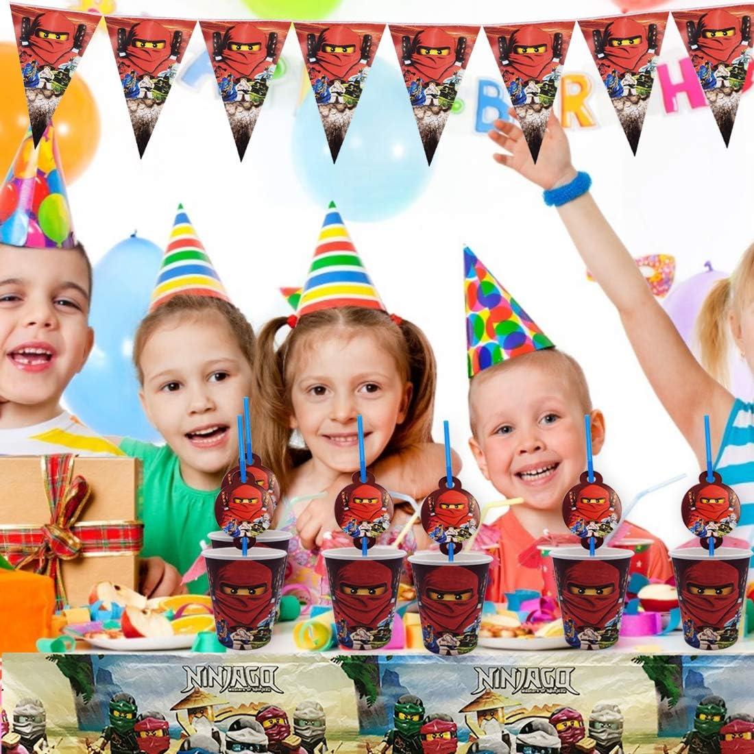 62-teilig Banner Teller Ninja Party Supplies Party-Geschirr-Set inkl Gabeln und Tischdecke Ninja Party Supplies Tassen Servietten