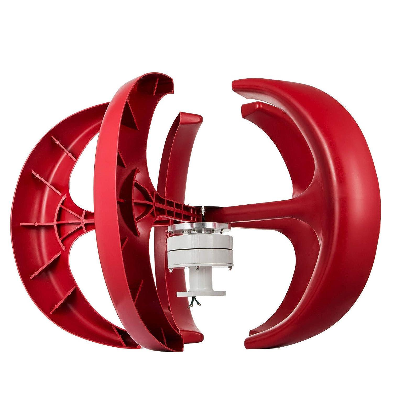 Moracle Turbina de Viento 600W 12V Linterna Aerogeneradores Generadores 5 Palas Linterna Vertical Estilo Color Rojo Eje Barco Jard/ín