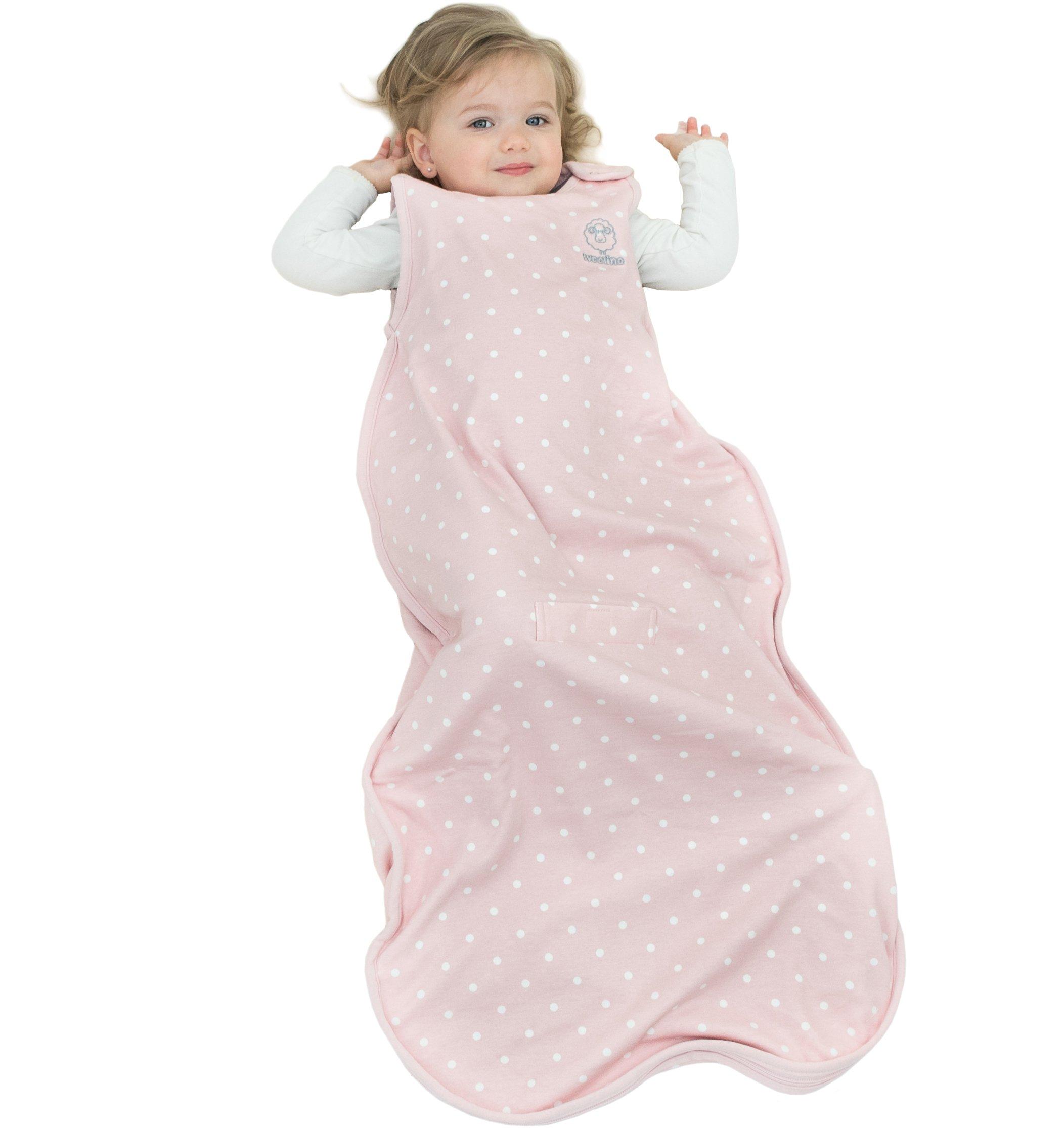 Woolino 4 Season Toddler Sleeping Bag, Merino Wool Toddler Sleep Bag or Sack, 2-4 Years, Rose