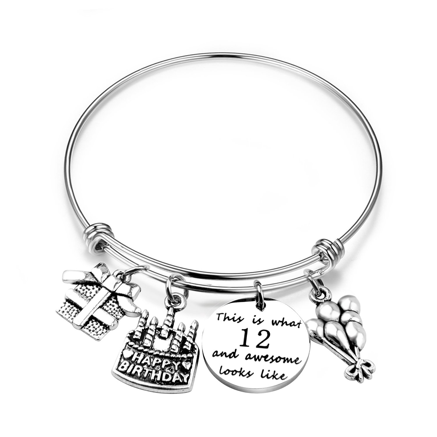 ENSIANTH Birthday Gift for Her Adjustable Birthday Bracelet Bangle with Birthday Cake Charm,12th Sweet 16th 18th 21st 30th 39th 40th Bangle gift,Anniversary Gift (12th Birthday)