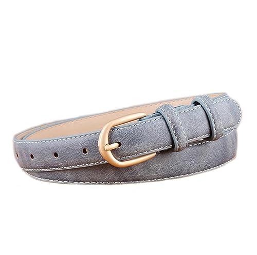 MEISHINE Elegante Mujer Delgado Cinturón Ajustable Cinturón de PU Cuero Casual Cinturón con Hebilla Metal