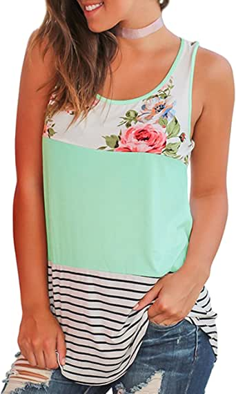 Pgojuni Womens Summer Printed Sleeveless Vest Blouse Tank Tops Camis Clothes Casual Blouse